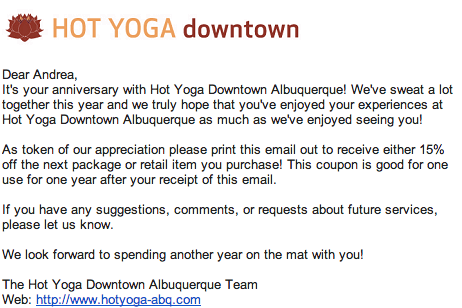 Email from Hot Yoga ABQ